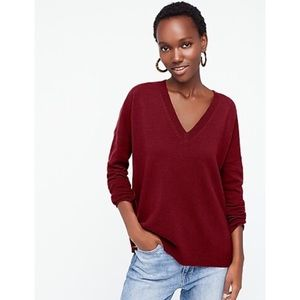 J.Crew Boyfriend V-Neck Cashmere Sweater Size M